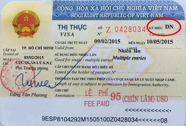 Mẫu visa công tác Việt Nam