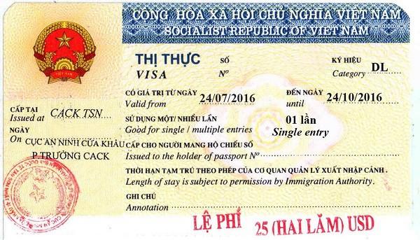 Mẫu visa du lịch Việt Nam