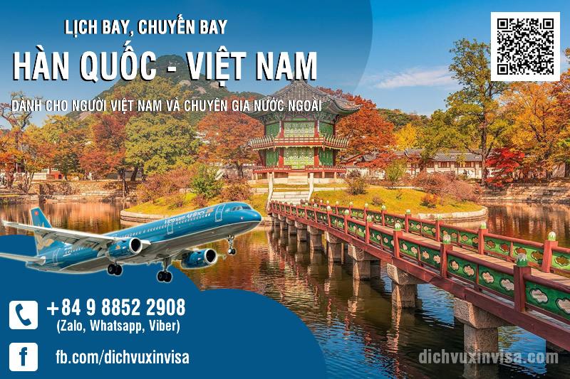 Lịch Chuyến bay từ Hàn Quốc về Việt Nam